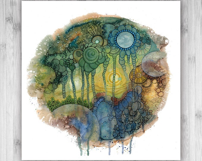 GICLEE PRINT  - Dust of Time - Circle - DoodlePainting - Select Your Size - Select Your Size