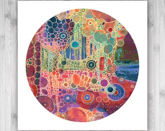 GICLEE PRINT  - Couleurs - 12x12 - Circle - DoodlePainting - Select Your Size