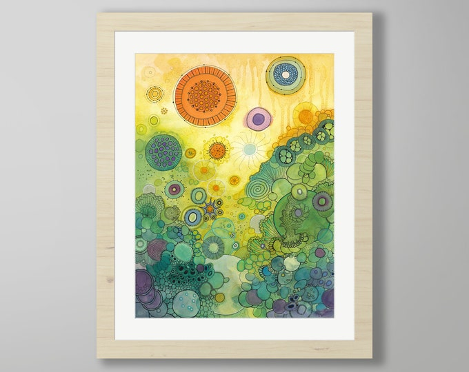 DoodlePainting - ORIGINAL -  22x28 - Abstract Circles Watercolor in Mat -  There Beneath