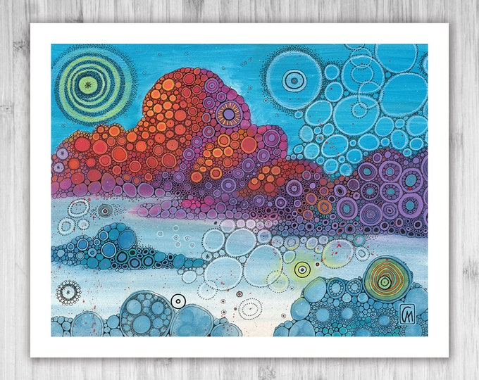 GICLEE PRINT - On Top of The World - Doodle Painting - Select Your Size