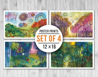 MINI POSTER PACK - Doodle Landscapes - Set of Four 11x17 Mini Posters