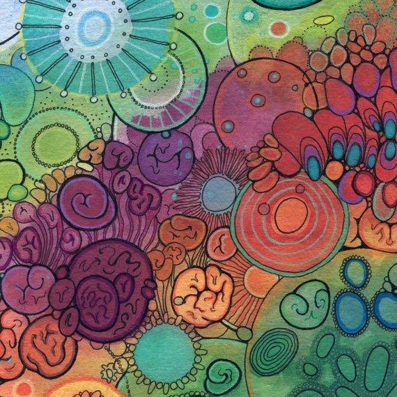 Abstract Circles Watercolor in Mat DoodlePainting Magic Hour ORIGINAL 20x16