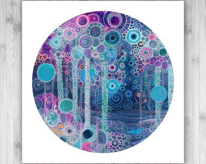 GICLEE PRINT  - Lullaby - 12x12 - Circle - DoodlePainting - Select Your Size