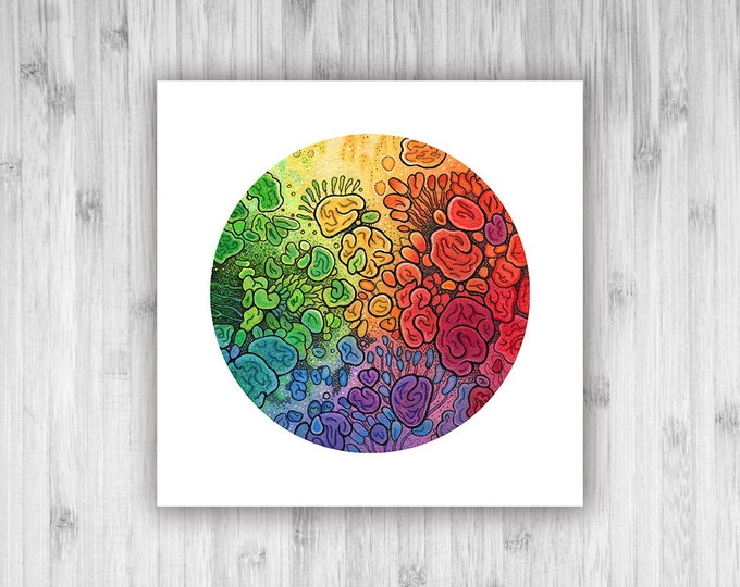GICLEE PRINT - Unfolding Life - 8x8 - DoodlePainting - Select Your Size
