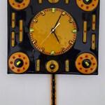 Glass Clock, Fused Glass Clock, Kiln Formed Clock, Pendulum Clock, Glass Pendulum Clock with Dichroic accents, Decorative Clock