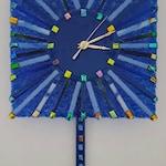 Pendulum Clock, Fused Glass Pendulum Clock, Multi Colored Blue with Dichroic Glass Clock, Kiln Formed Glass Clock, Decorative Clock