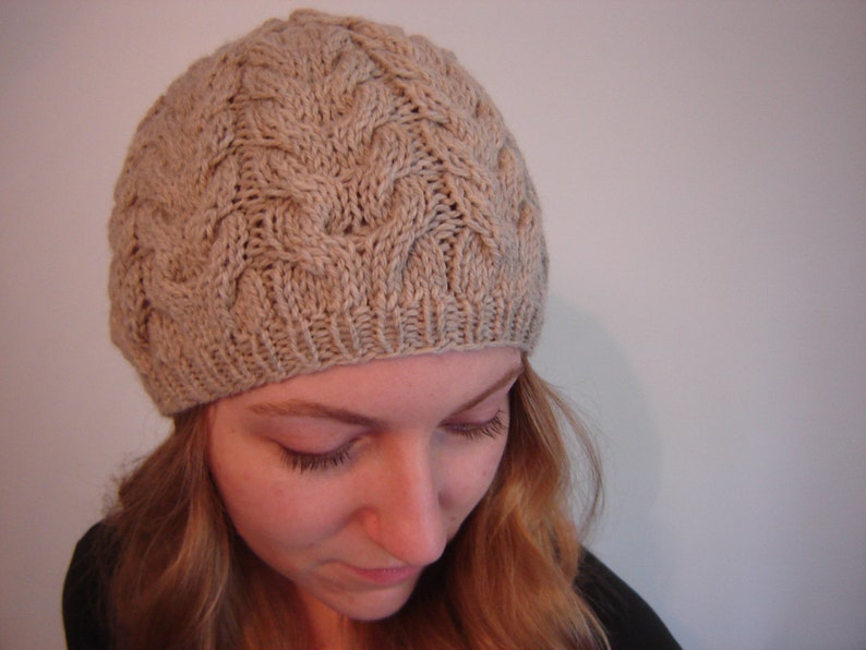 PLUME  Cable Knit Hat  Knitting Pattern PDF image 0