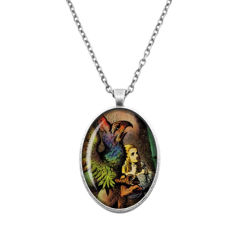 Alice and the Gryphon Alice in Wonderland Through The Looking Glass Lewis Carroll John Tenniel Bronze or Silver Large Small Cameo Necklace