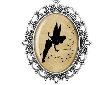 Tinkerbell Peter Pan Disney Silhouette Fairytale Victorian Cameo Large or Small Handmade Bronze or Silver Necklace Jewellery