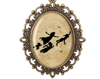 Peter Pan Wendy John Michael Flying Disney Silhouette Fairytale Victorian Cameo Large or Small Handmade Bronze or Silver Necklace Jewellery