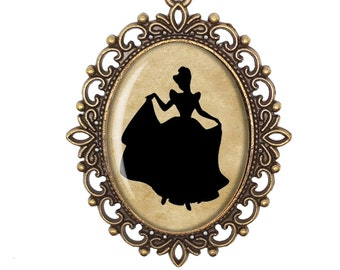 Cinderella Disney Princess Silhouette Fairytale Victorian Cameo Large or Small Handmade Bronze or Silver Necklace Jewellery