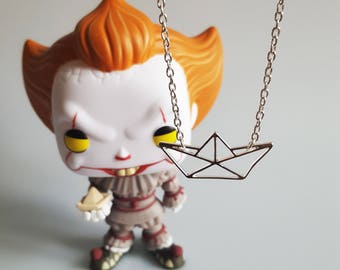 Paper Boat Charm Necklace, Pennywise IT Clown inspired, S.S. Georgie, Origami Boat, Horror Fan, Comic Con, Handmade Silver Charm Necklace