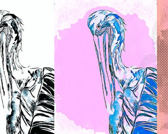 "Mixed Media Canvas Print featuring Pelicans - 13""x30"" - Hand Drawn, Painted, Illustrated Mixed Media Art by Jillian Burrow Pop Art Effect"
