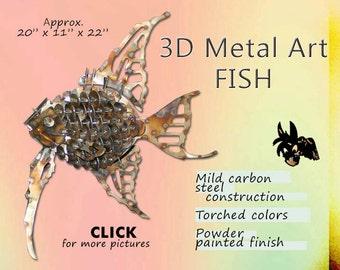 Fish Metal Art, Steel Art Fish, Garden Art Fish by Brown-Donkey Designs