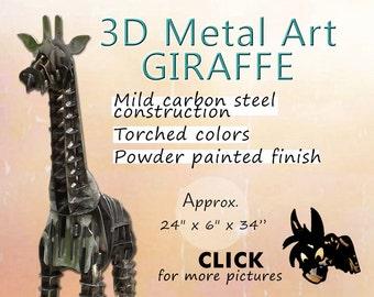 Giraffe Metal Art, Steel Art Giraffe, Garden Art Giraffe by Brown-Donkey Designs