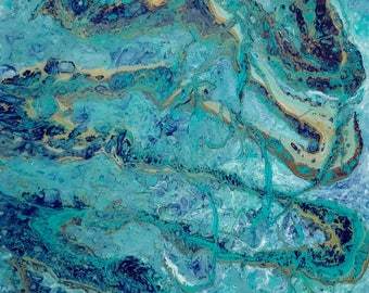 Ready to hang 12 x 12  inches,  contemporary Art - Original Fluid Acrylic  Pour Painting by ebsq Artist Ricky Martin - FREE  US SHIPPing