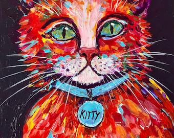 Kitty  Cat, Nursery, Boy's, Girl's Room Decor - FREE SHIPPING - Original Acrylic Painting by ebsq Artist Ricky Martin