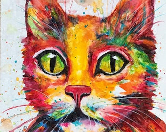 Abstract Cat Contemporary Home Decor, Great  Gift -  FREE SHIPPING - Original  Art Watercolor Painting by ebsq Artist Ricky Martin