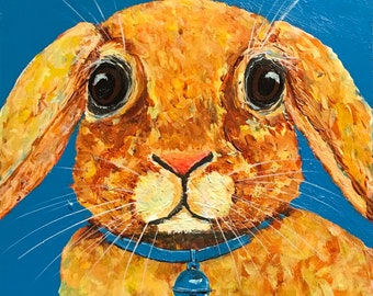 Bunny Rabbit, Nursery, Boy's, Girl's Room Decor - FREE SHIPPING - Original Acrylic Painting by ebsq Artist Ricky Martin