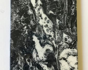 Ready to hang 10 x 20 inches,  contemporary Art - Original Fluid Acrylic  Pour Painting by ebsq Artist Ricky Martin - FREE  US SHIPPing