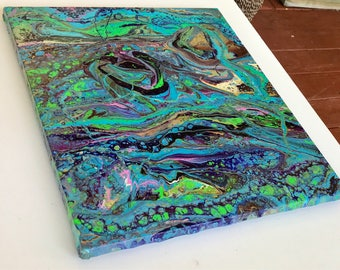 Ready to hang 16 x 20 inches,  contemporary Art - Original Fluid Acrylic  Pour Painting by ebsq Artist Ricky Martin - FREE  US SHIPPING