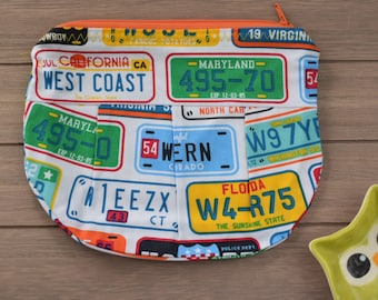 Large Pleated Zippered Pouch - Fun USA License Plate Pattern