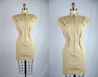 9b4967310608 Vintage 1990s Thierry Mugler Safari Dress 90s Khaki Safari Dress by Thierry  Mugler Size S
