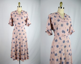 a958a7fbc70 Vintage 1940s Pink Nylon Floral Dress 40s Sheer Pink Dress with Blue  Flowers Size XL XXL