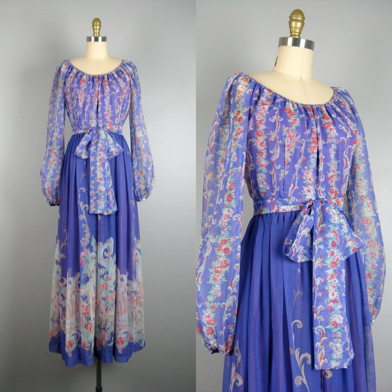 3c40937b9d Vintage 1970s Chiffon Dress 70s Purple Printed Chiffon Maxi
