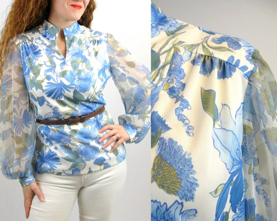 Vintage 1970s Blue Floral Poly Blouse with Sheer P