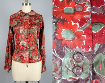 Vintage 1960s Floral Blouse 60s Fall Colored Nylon Button Down Shirt by Donkenny M