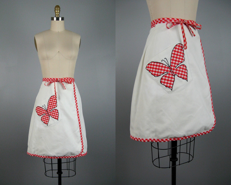 Vintage s cotton wrap mini skirt s butterfly applique etsy
