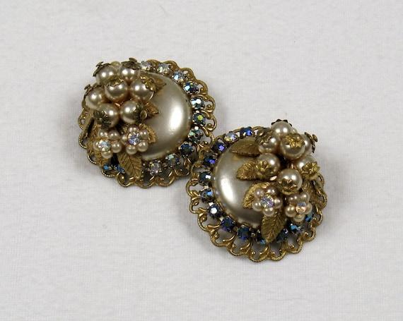 Vintage 1950s Miriam Haskell Cluster Clip Earrings