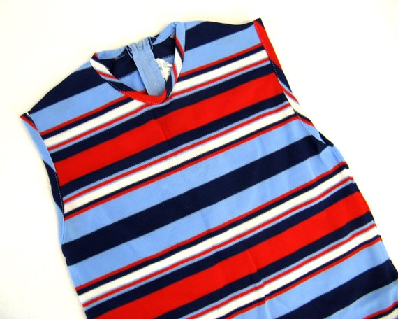 Vintage 90s Toddlers Ribbed Cotton Striped Onesie Body Suit Top Bodysuit Red Blue Striped 90s Top Girls Top Hipster Kid Short Sleeve Knit