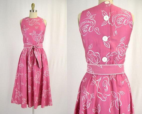 Vintage 1980s Pink Polished Cotton Rose Print Dres