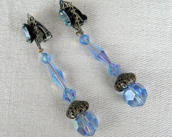 Vintage 1950s Crystal Earrings 50s Blue Sparkly Earrings by Lewis Segal