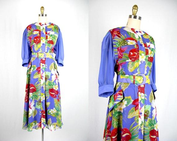 Vintage 1980s Purple Floral Chiffon Dress 80s Chif