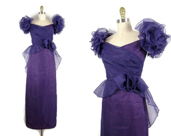 Vintage 1980s Purple Organza Formal Dress with Ruf