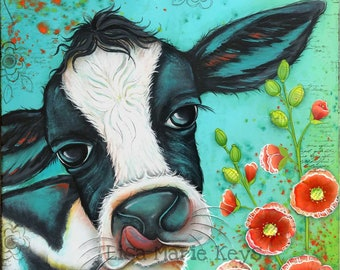 Black and White Cow Print~ Home Decor Wall Art~ Hand Painted~ Kitchen Decor~ Whimsical Art~ Farm House Decor