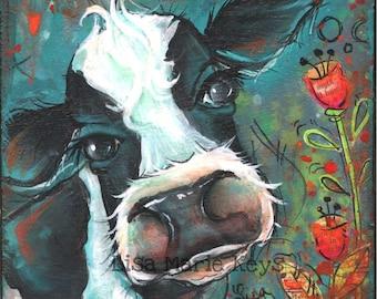 Cow Wall Decor~ Kitchen Wall Art~ Farm House Art Print~ Painted Art