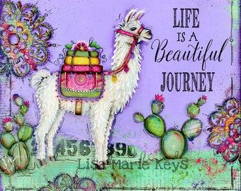 Llama Decor~ Painted Wall Art~ Whimsical Fun Art~ Llama Art Print~ Teen Girl~ Office Decor