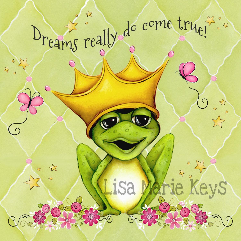 Frog Wall Art Prince Frog Girls Nursery Pink Green | Etsy