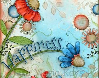 Flower Wall Art~ Flower Home Decor~ Happiness~ Whimsical Art~ Wall Decor~ Children's Wall Art~Coral Blue~ Home Wall Decor Art Print