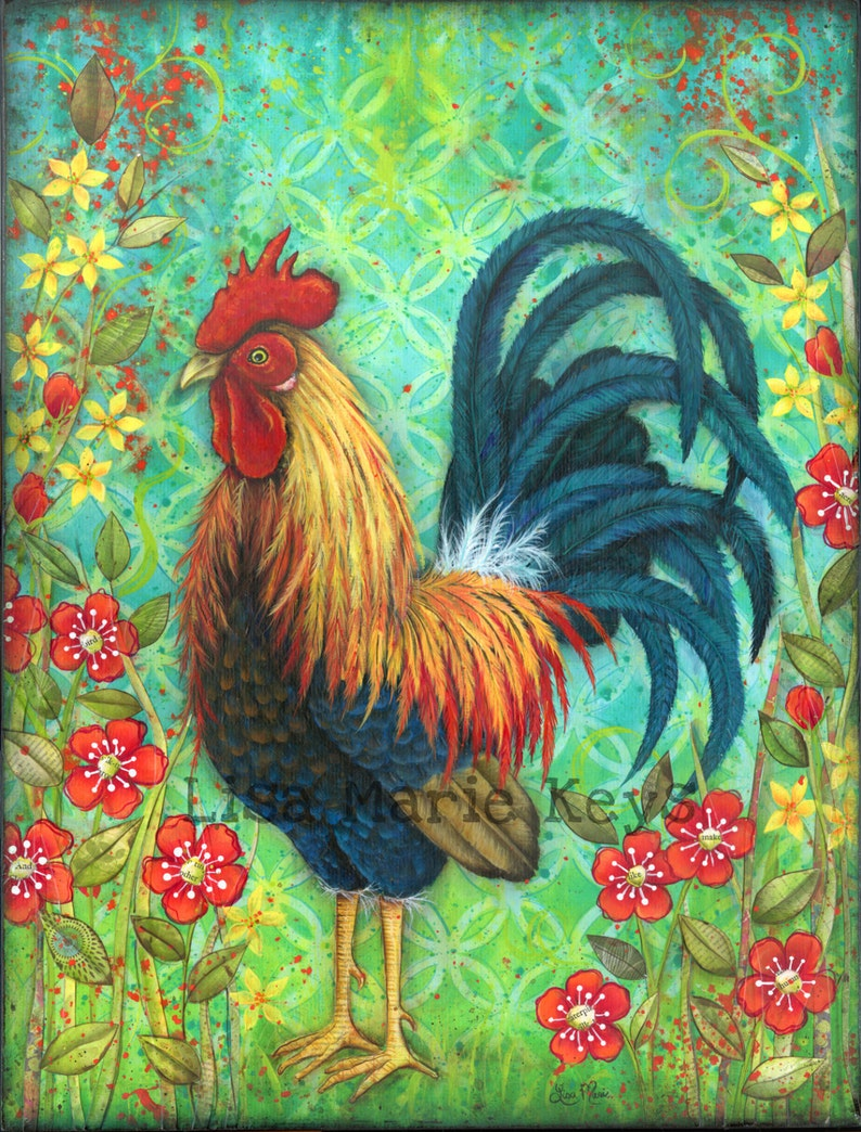 Rooster Art Print Colorful Rooster Kitchen Wall Art Rooster image 0