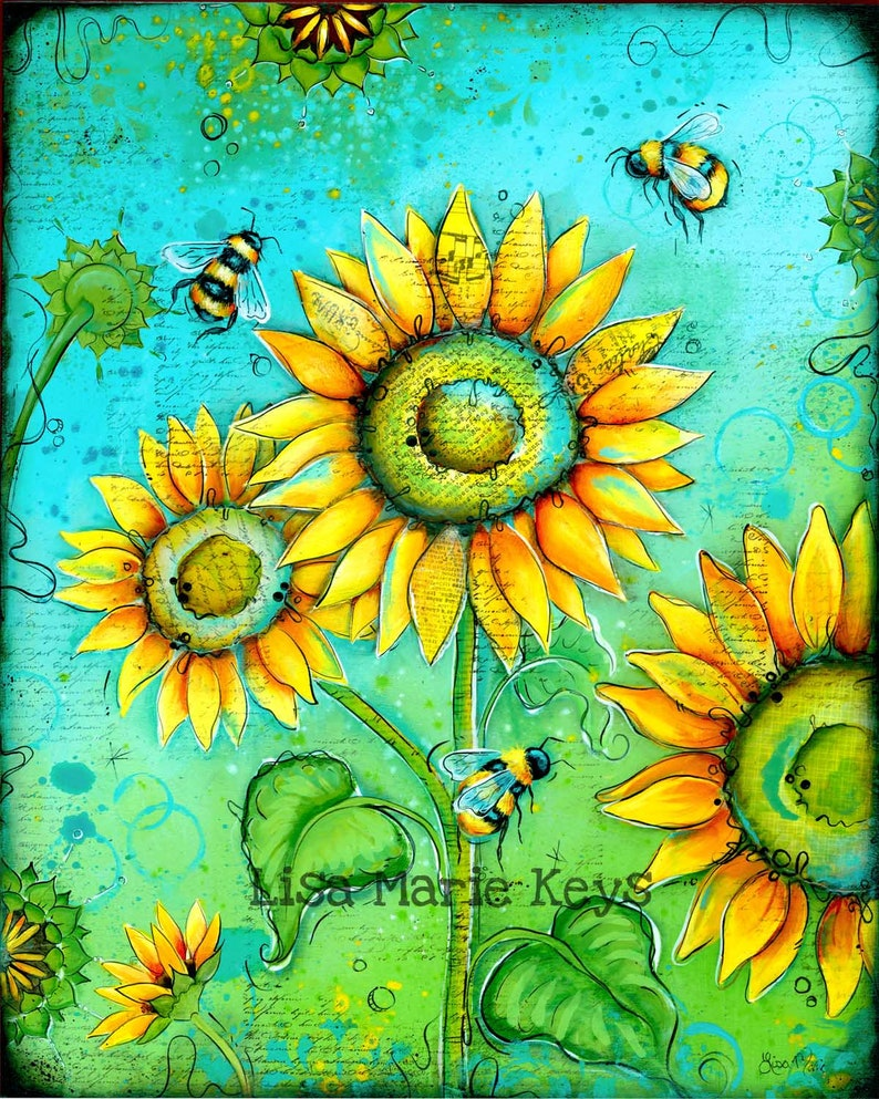 Sunflower Wall Art Flowers & Bees Home Decor Art Print image 0