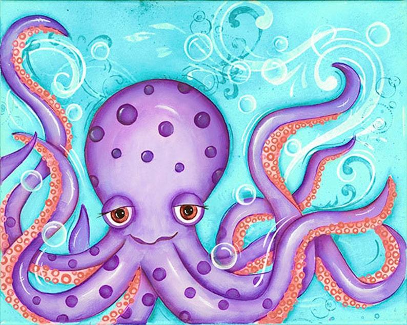 Octopus Art Print  Childrens Wall Art  Nautical Nursery  image 0