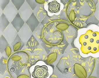 Grey and Yellow Wall Art ~ Children's Wall Art ~ Nursery Wall Art ~ Gray Yellow ~ Flowers ~ Whimsical Art Print ~ Girls Room ~ Bathroom Art
