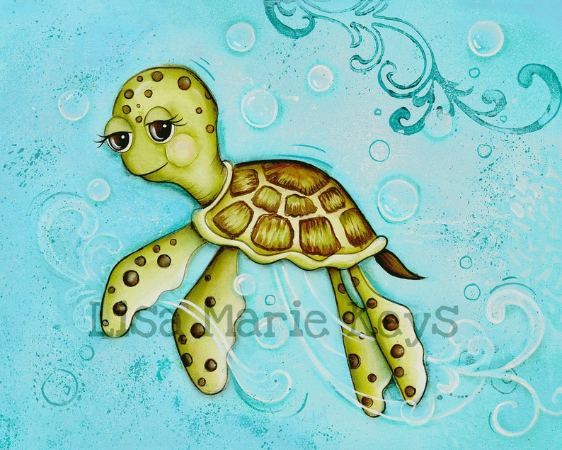Sea Turtle Children's Wall Art Ocean Bathroom Decor image 0