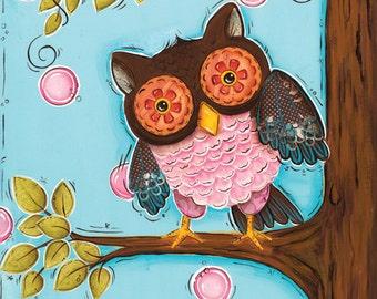 Owl Art Print ~ Children's Wall Art ~ Girls Nursery Room ~ Owl Decor ~ Bathroom Wall Decor ~ Whimsical Art ~ Girls Room ~ Home Decor