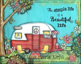 Camper Wall Art~ Happy Camper~ Travel Art~ Home Decor Wall Art Print~ Travel Trailer